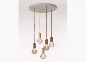 Clear & Frosted Crystal Bulb Chandelier Lee Broom